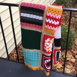 Vintage 70's Granny Square Afghan Blanket Throw